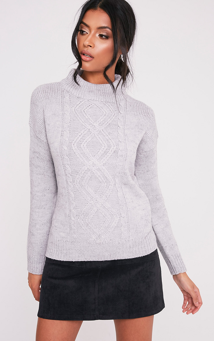 Jodeanne Grey Cable Knit Detail Turtle Neck Jumper