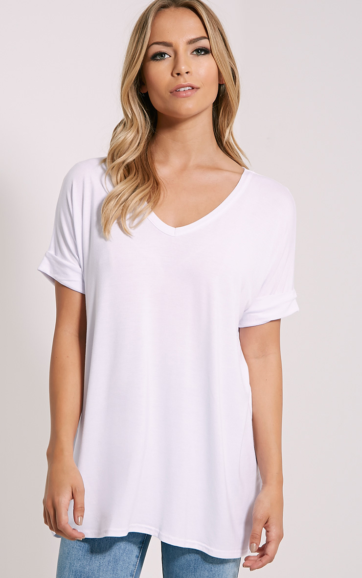 Basic White V Neck Oversized T-Shirt