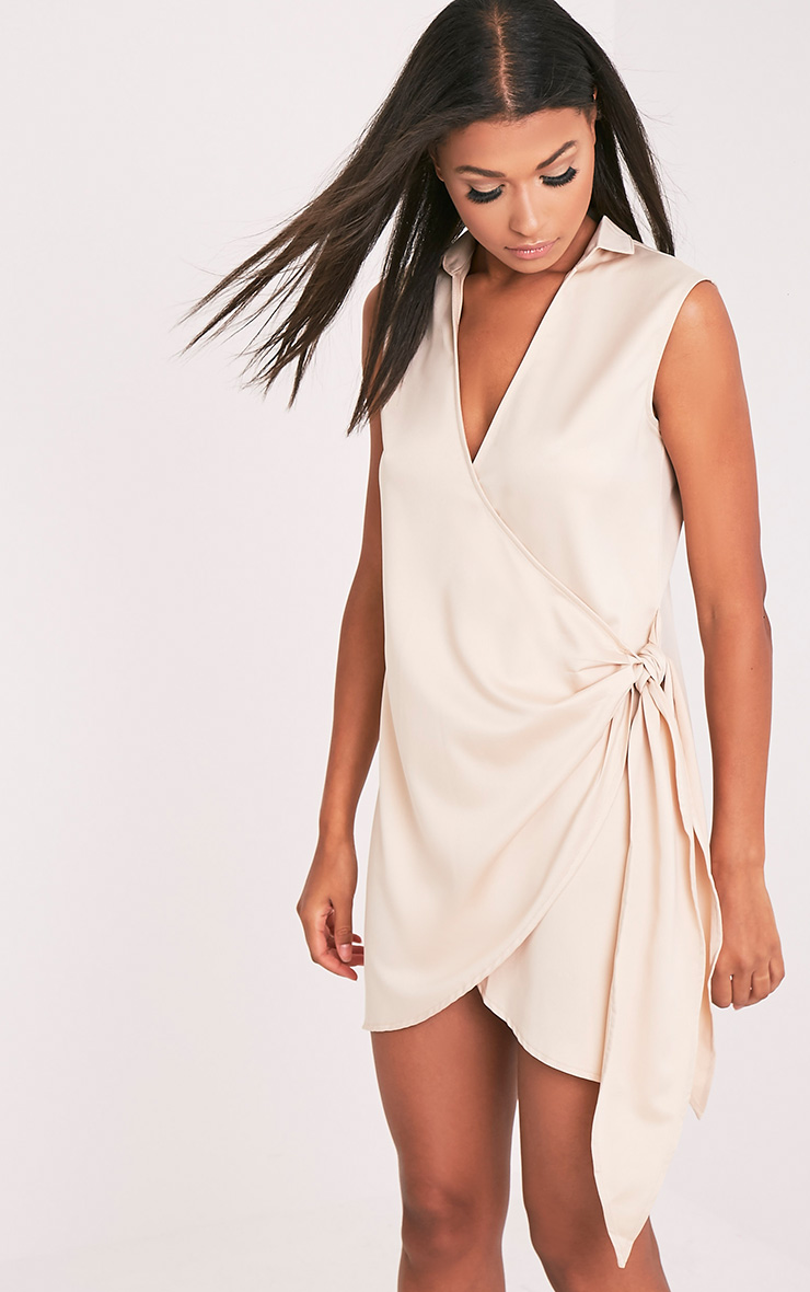 Shaylene Champagne Sleeveless Tie Side Satin Shirt Dress