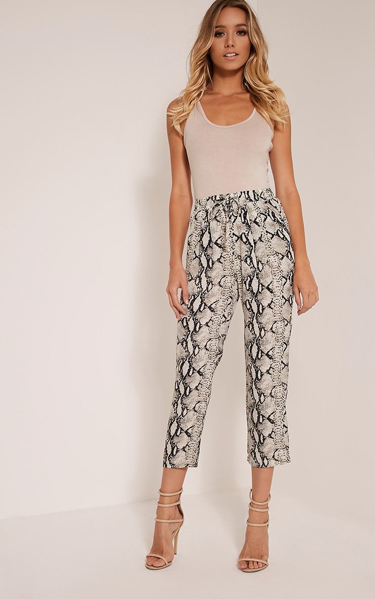 Diya Cream Snake Print Cropped Trousers