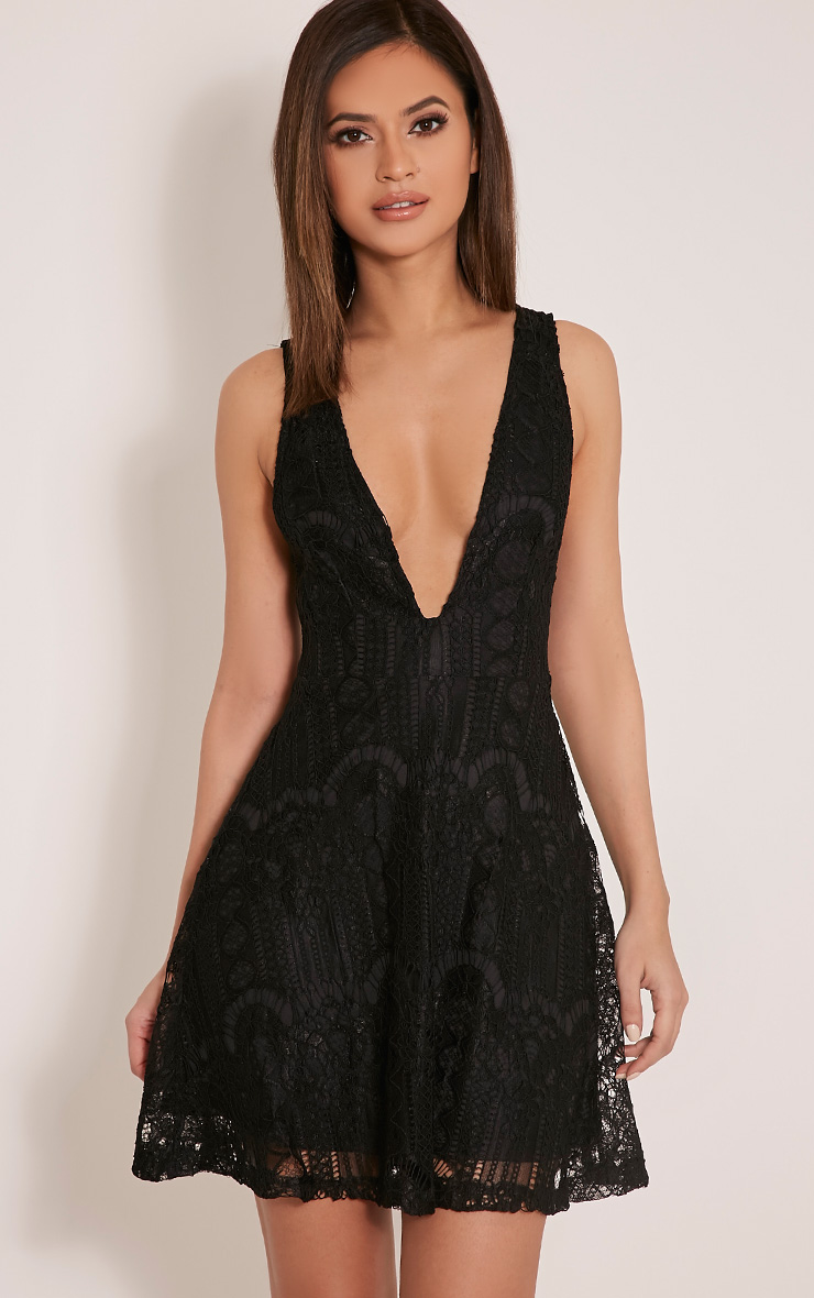 Erlisa Black Plunge Lace Skater Dress