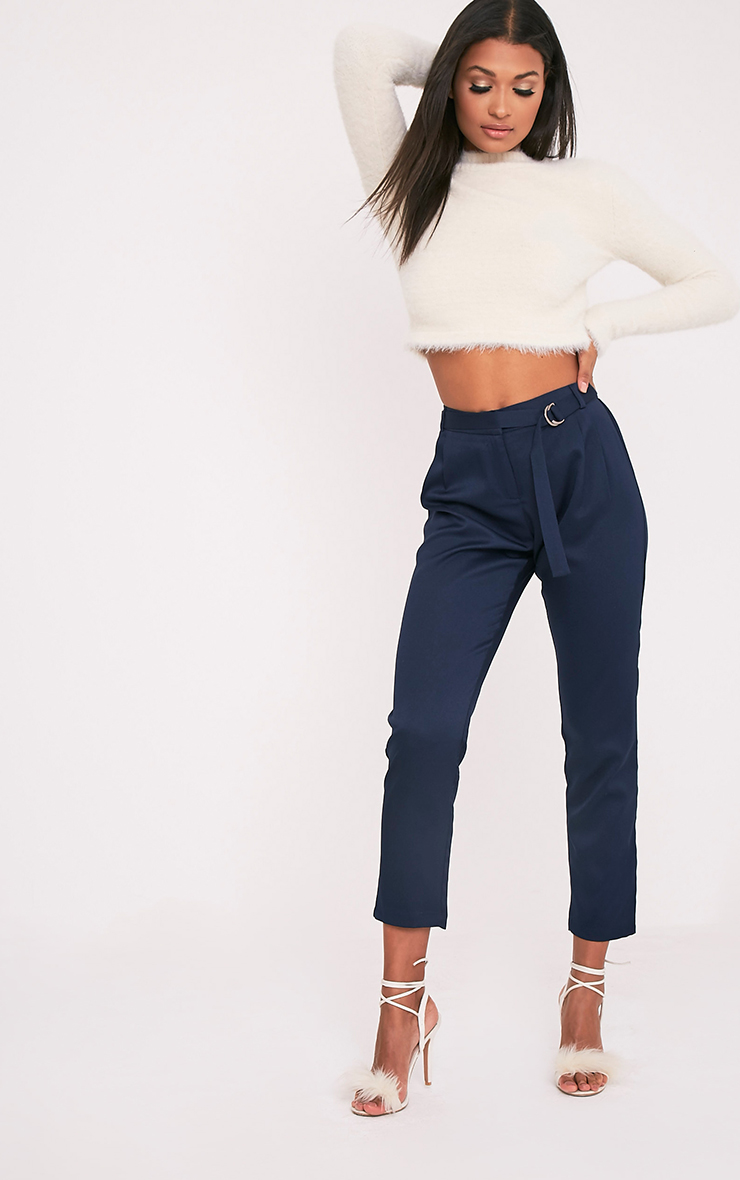 Teena Navy D-Ring Belted Trousers