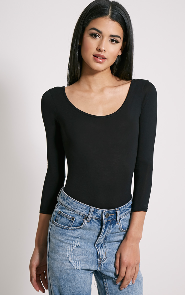 Basic Black Scoop Neck Bodysuit