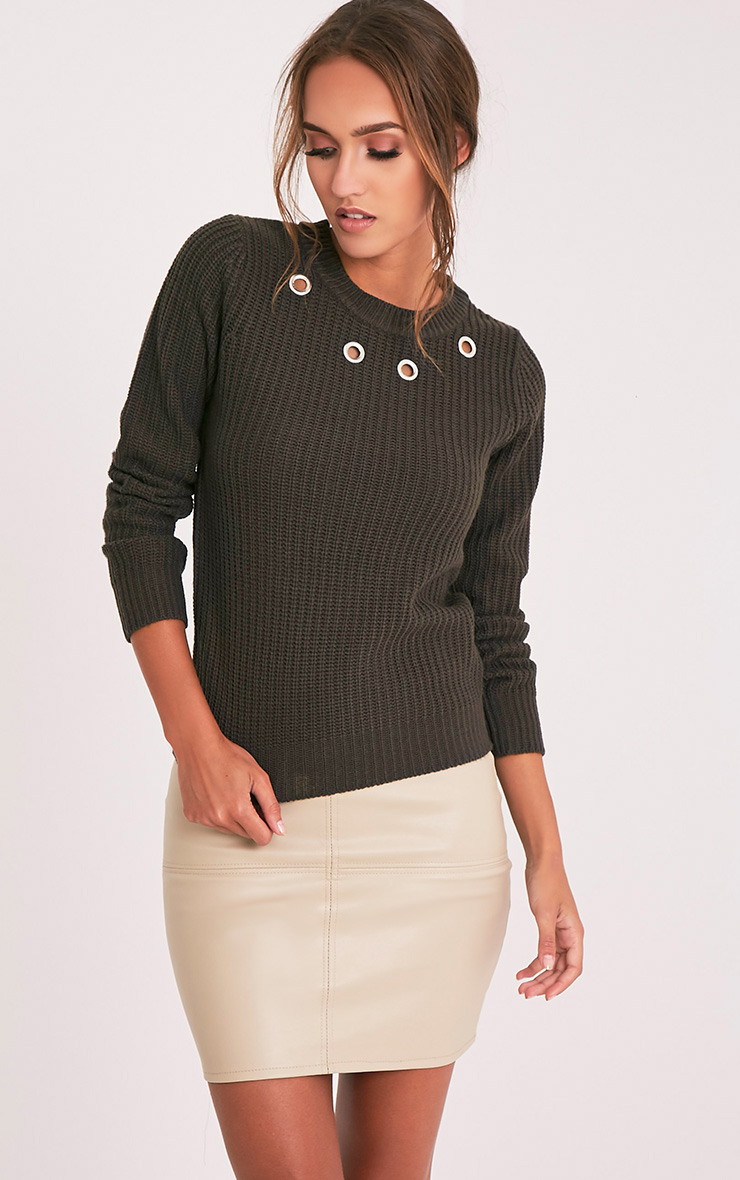 Indie Charcoal Eyelet Detail Knitted Jumper