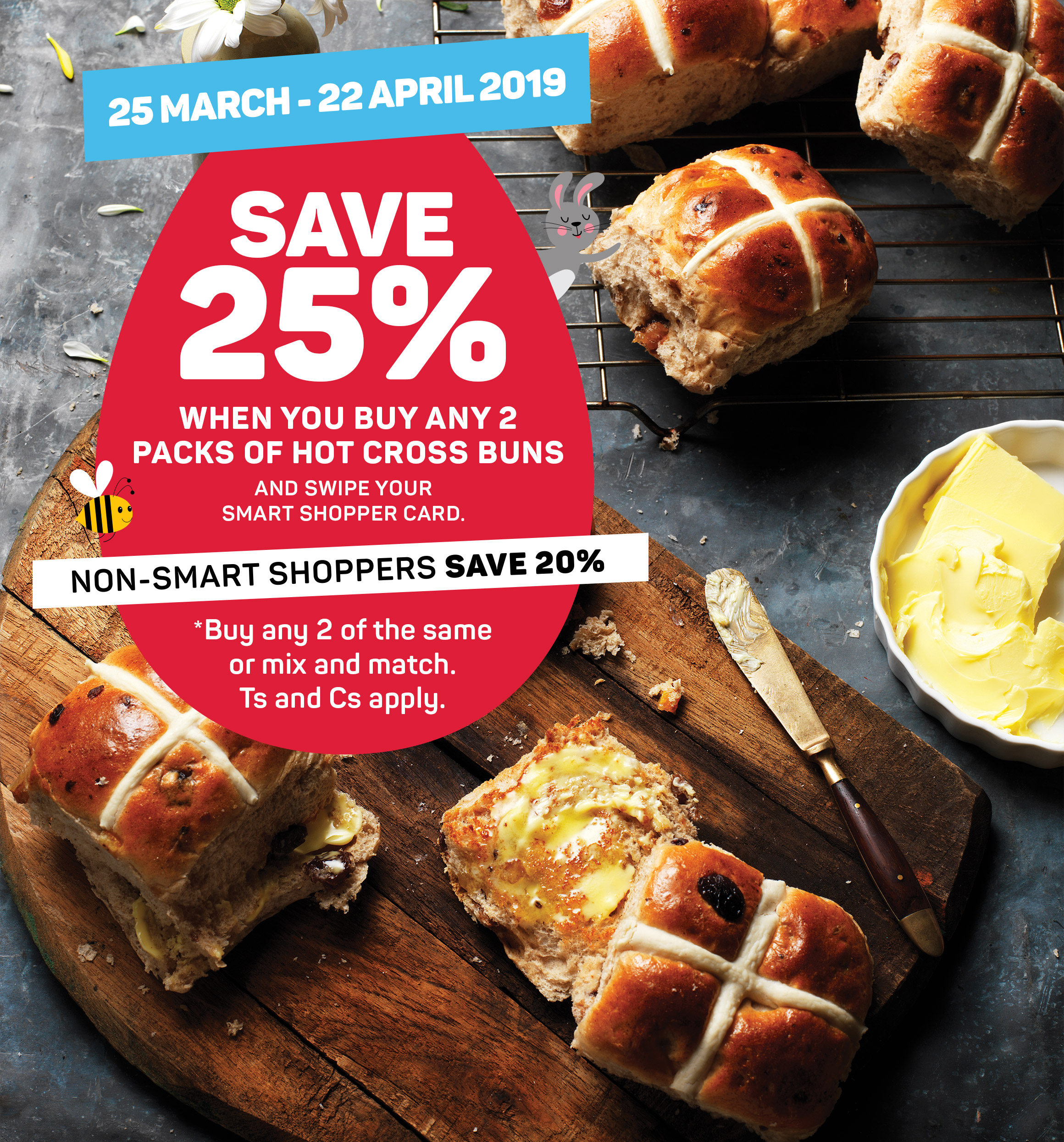Save 25% when you buy any 2 Packs of hot cross buns