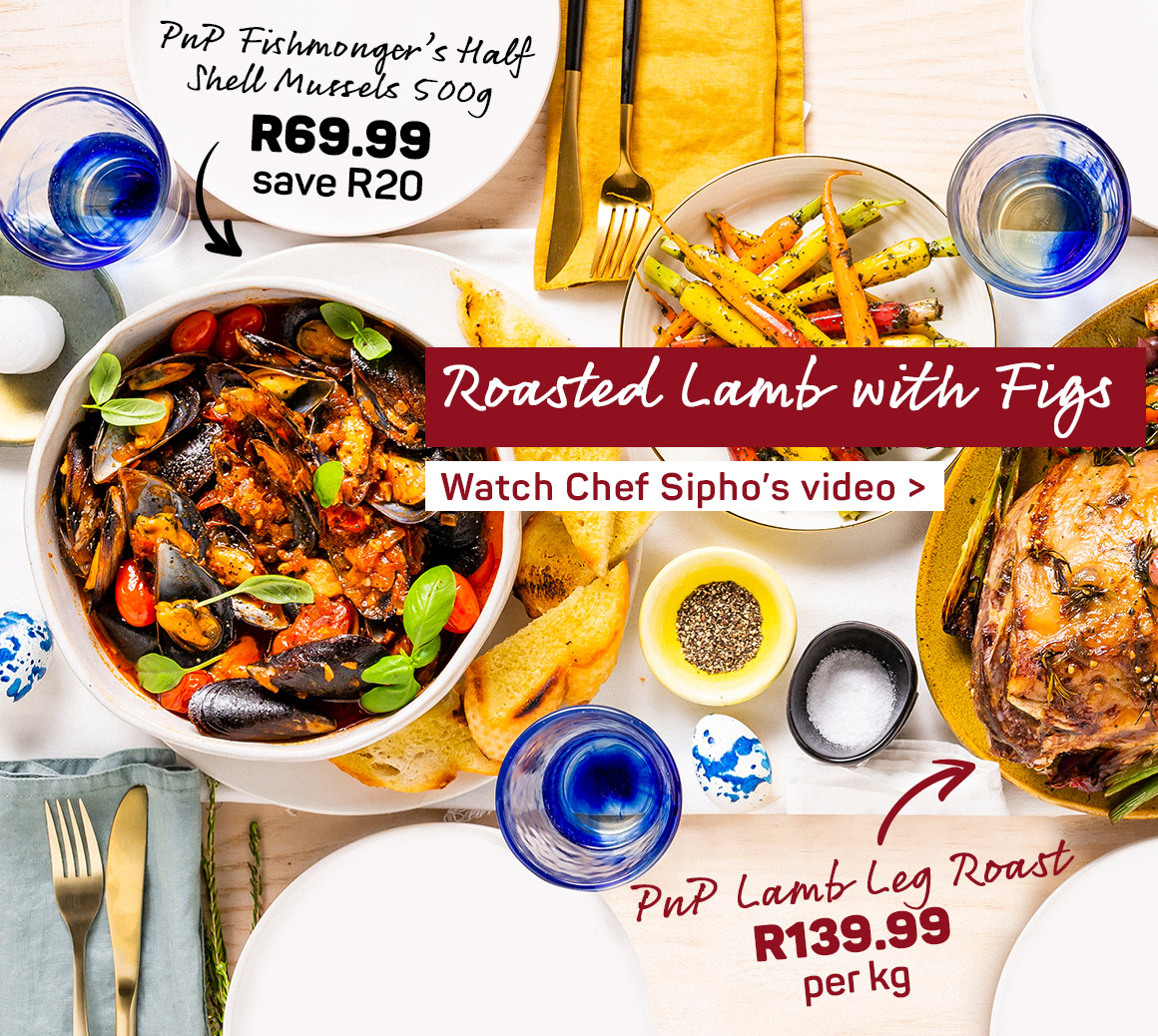 Roasted lamb with figs. Watch Chef Sipho's video