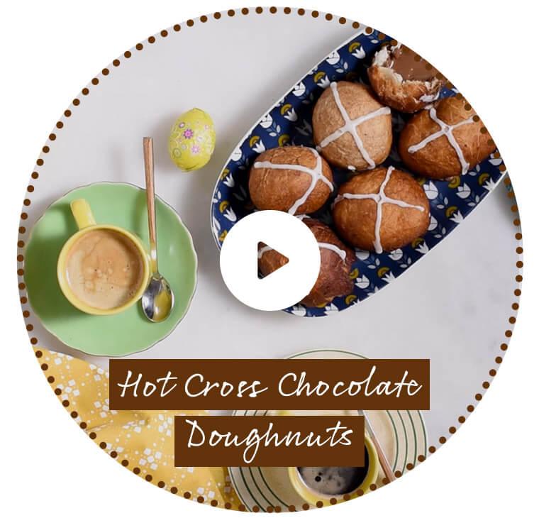 Hot Cross Chocolate Doughnuts