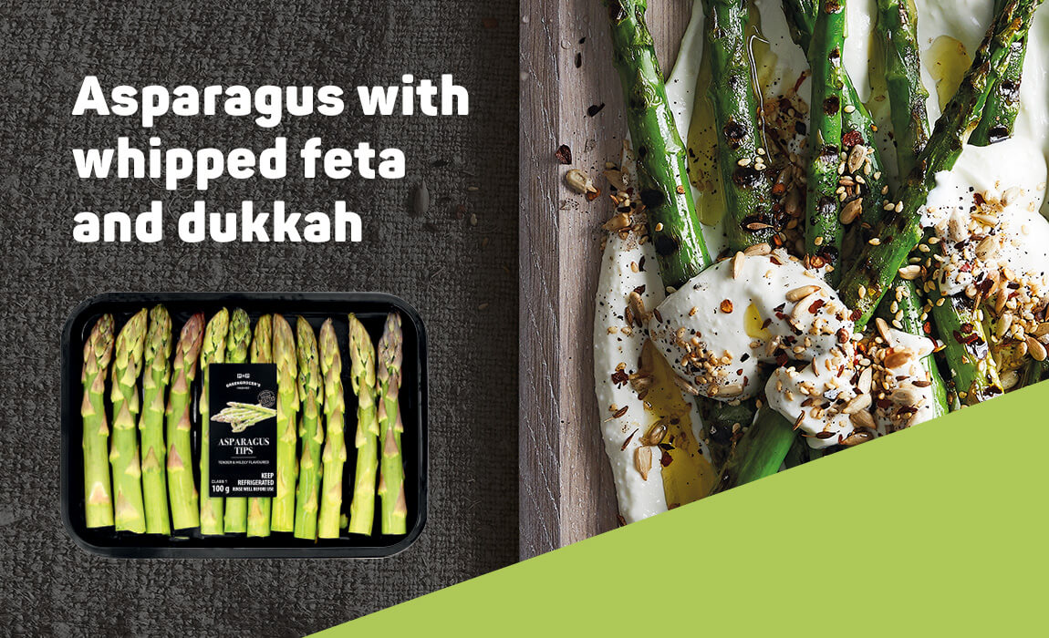 Asparagus with whipped feta and dukkah