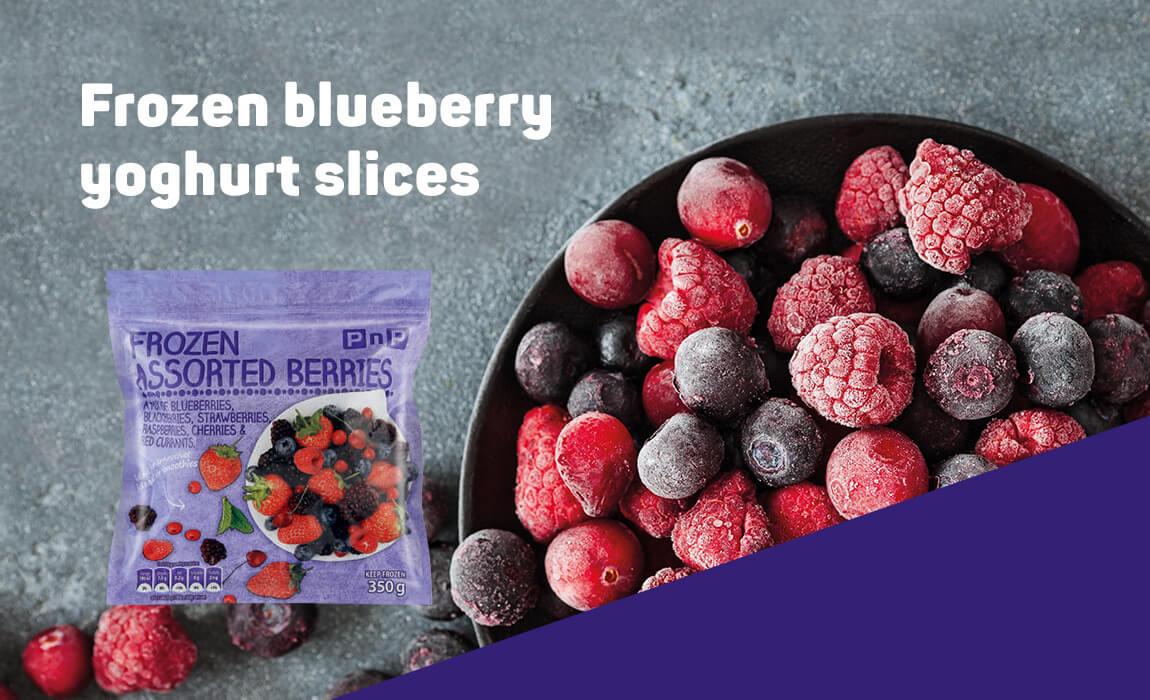 Frozen blueberry yoghurt slices