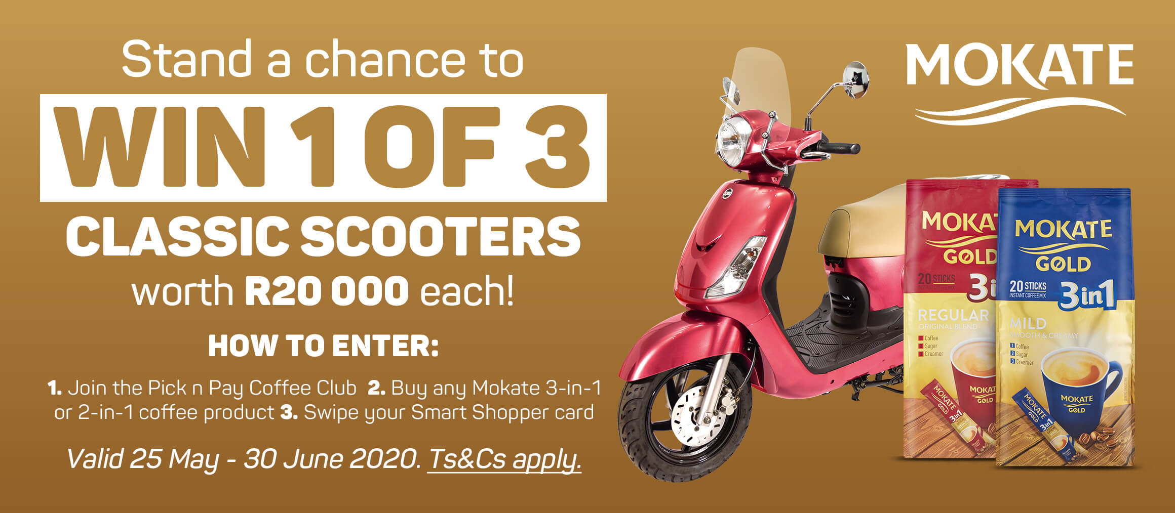 Stand a chance to win 1 of 3 classic scooters worth R20 000 each!