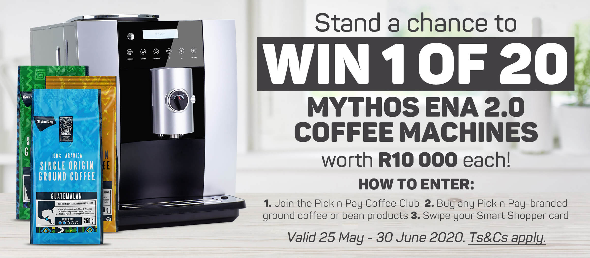 Stand a chance to win 1 of 20 Mythis Ena 2.0 coffee machines worth R10 000 each!