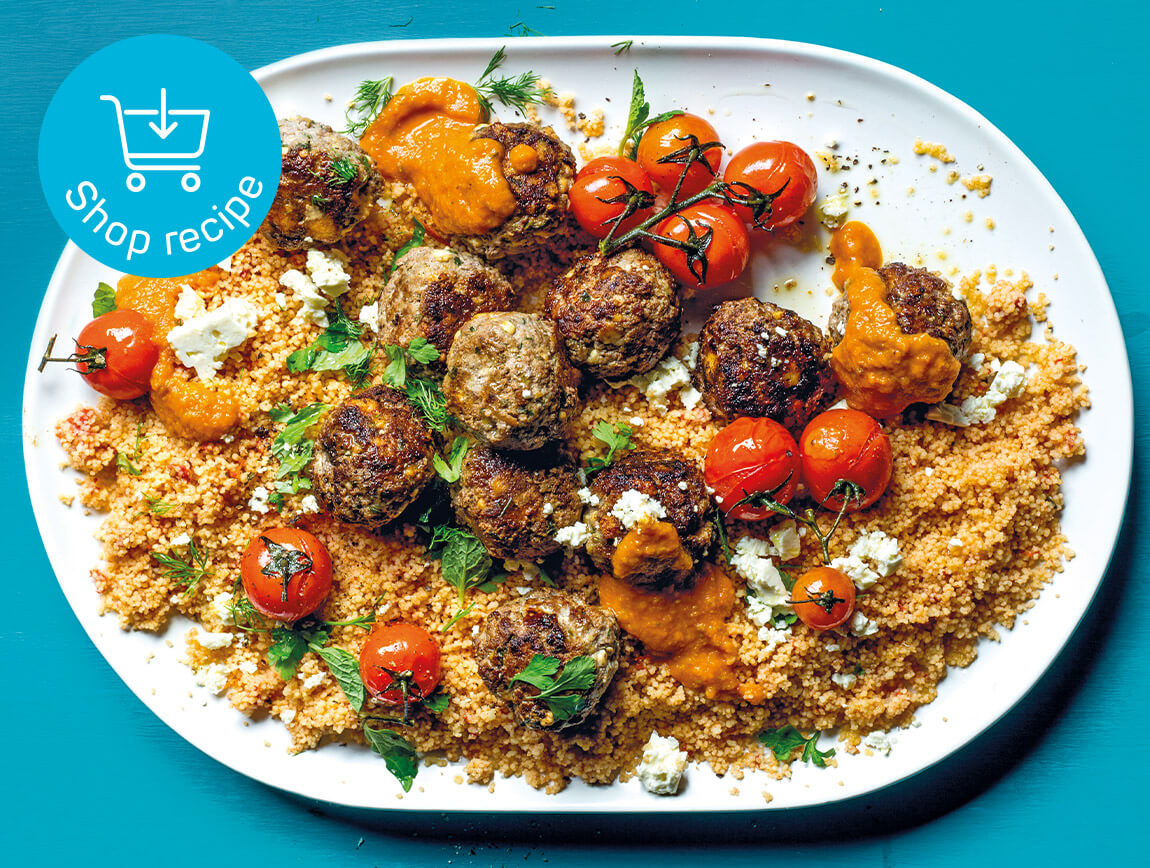 Lemony meatballs on tomato couscous