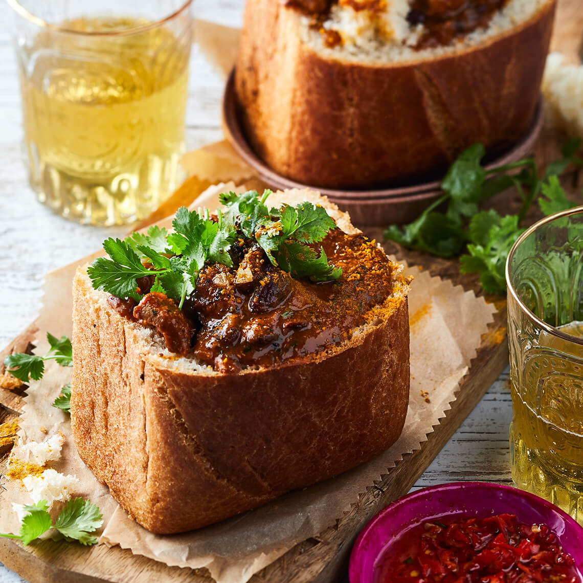 Beef-and-bean bunny chow