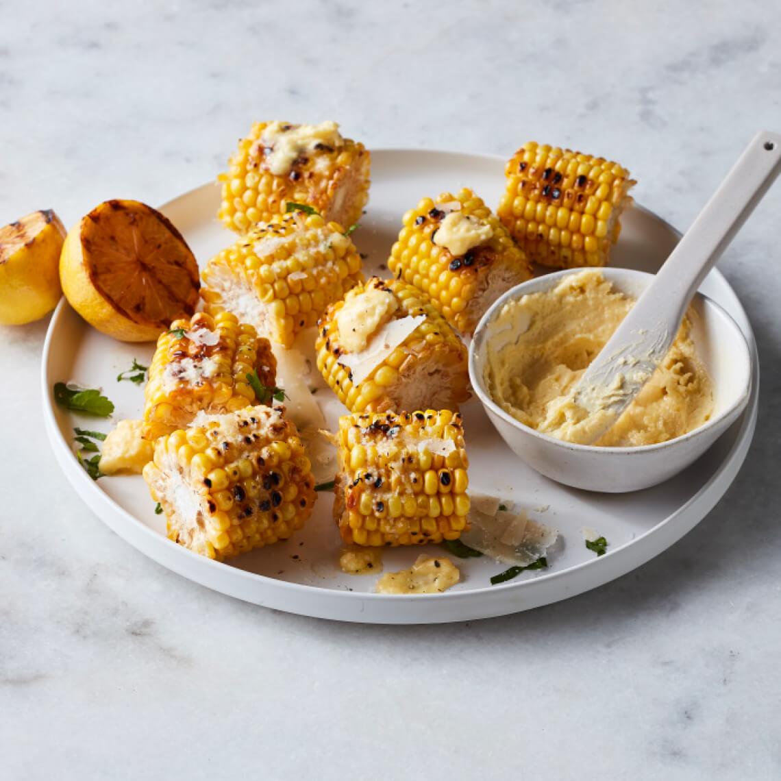 Corn cobettes with lemon and parmesan butter