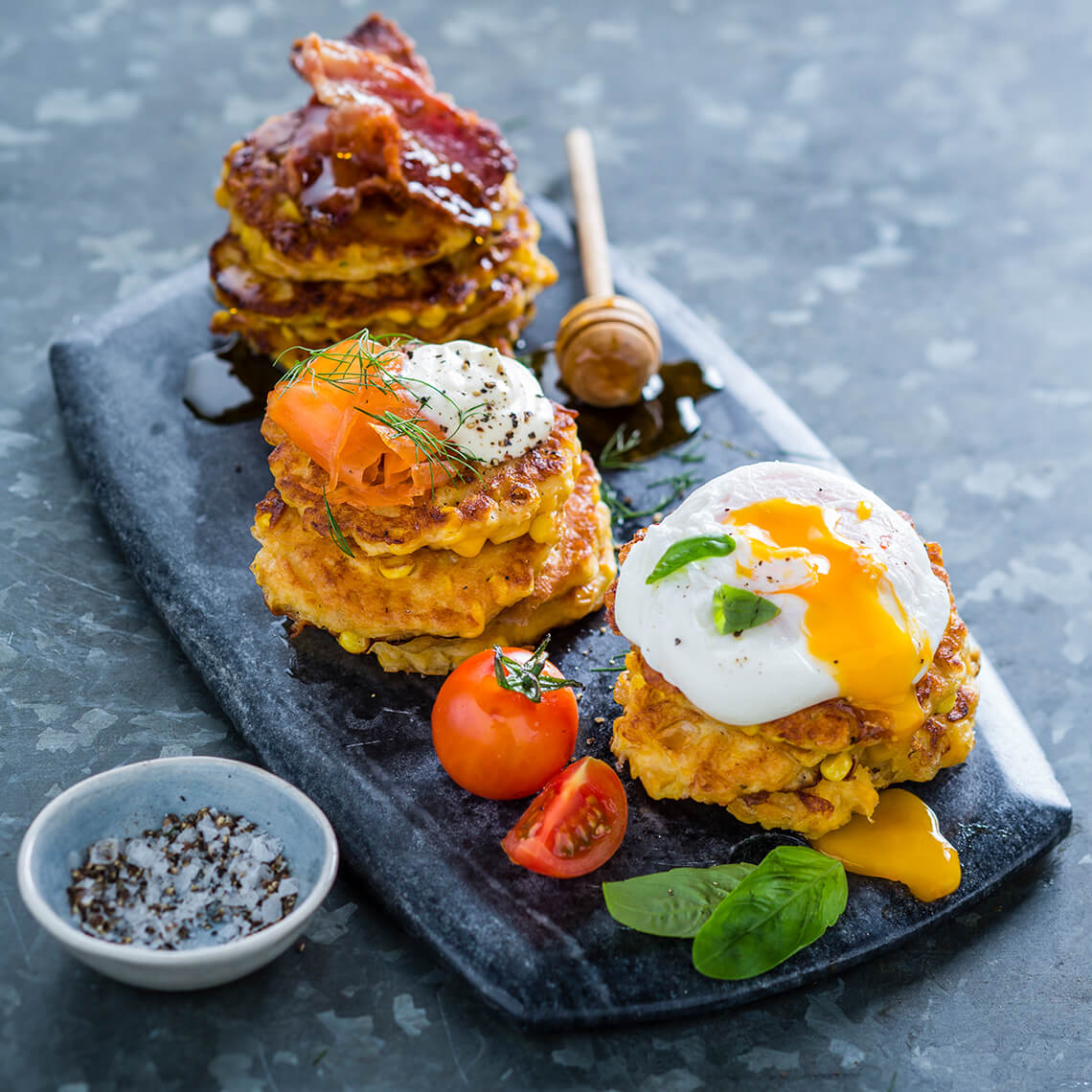 All-dressed up corn fritters