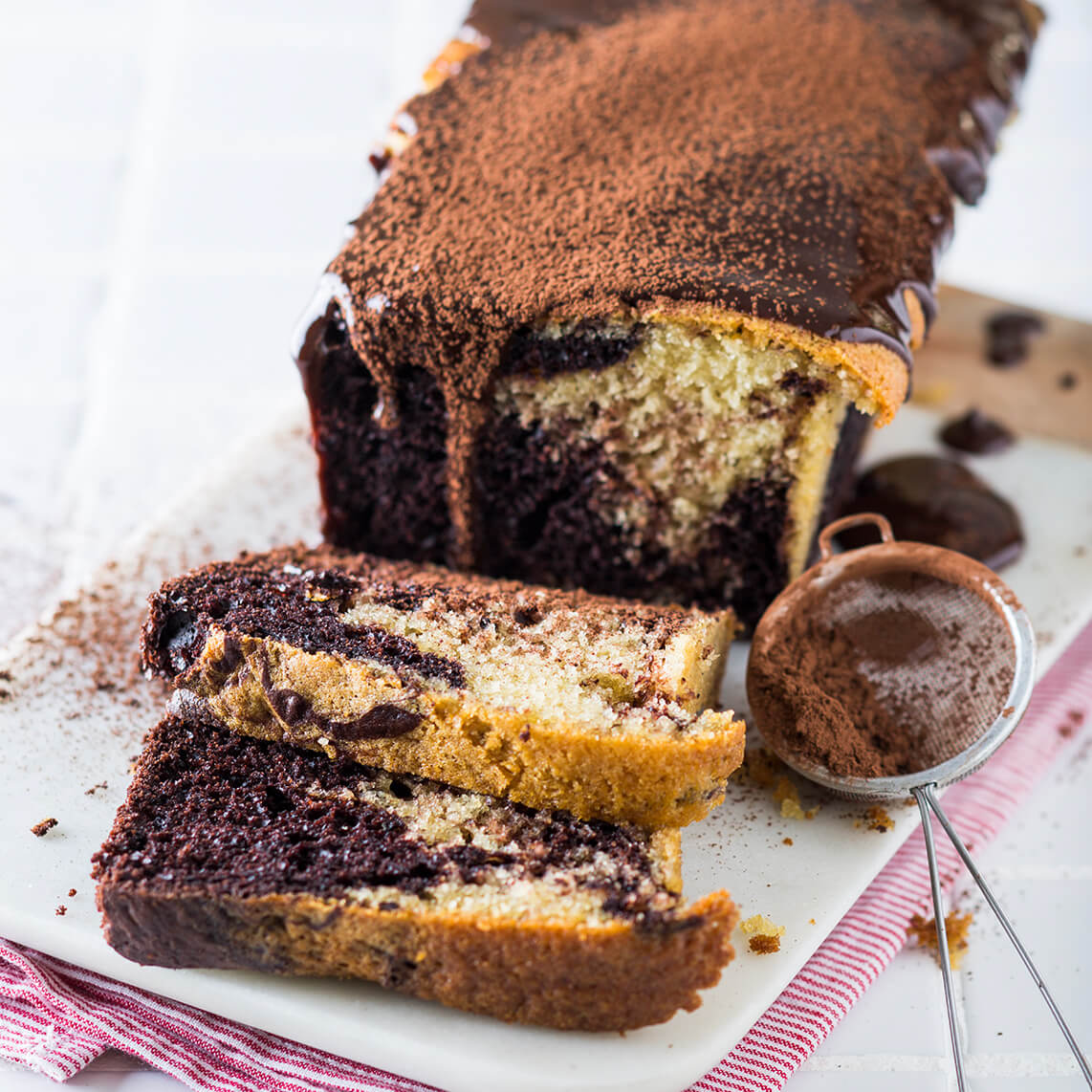 Marbled chocolate-coffee loaf