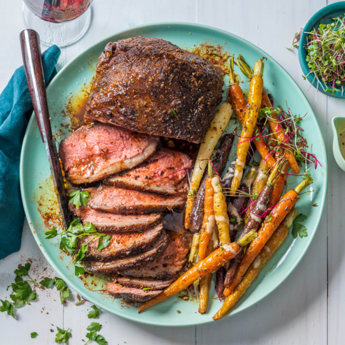 Moroccan picanha steak with tahini carrots
