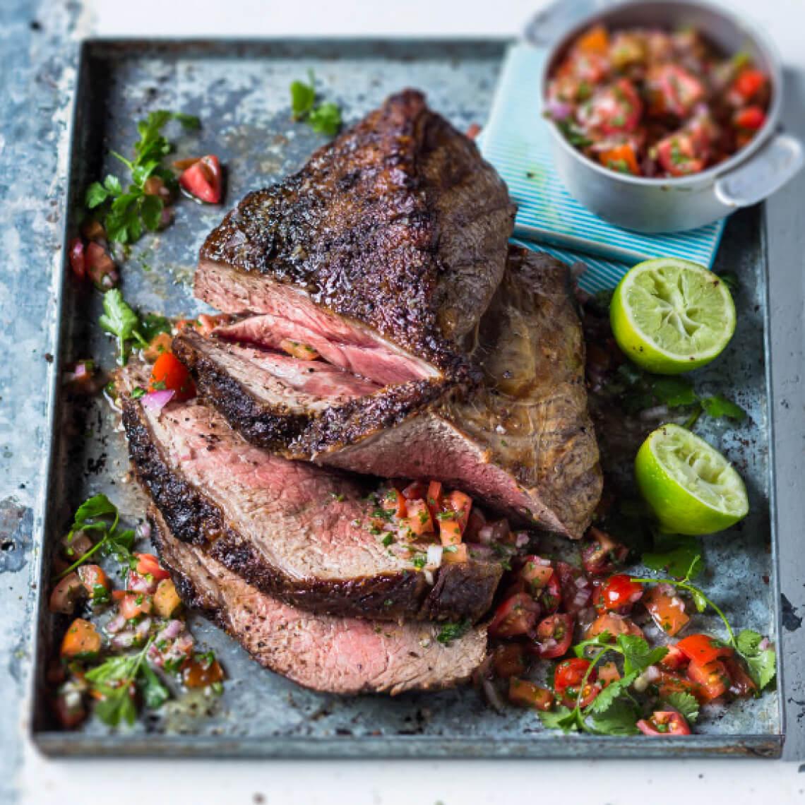 Salt and pepper rump steak with pico de gallo