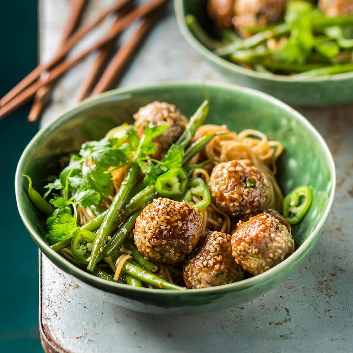 Sesame pork meatballs and noodles