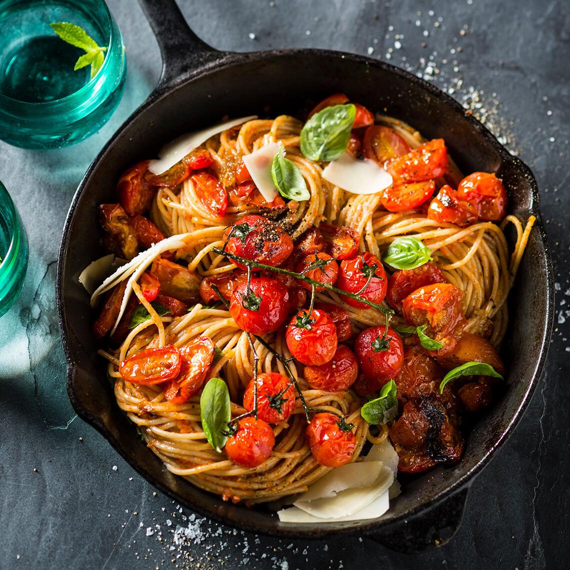 Slow-roasted tomato and basil spaghetti