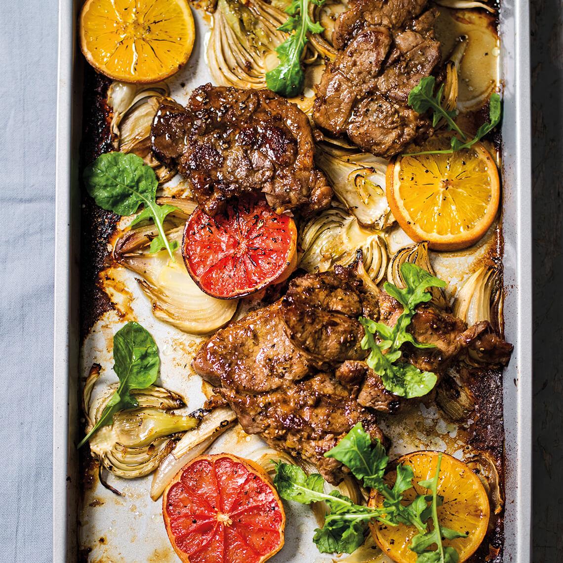 Sticky citrus pork-neck steaks
