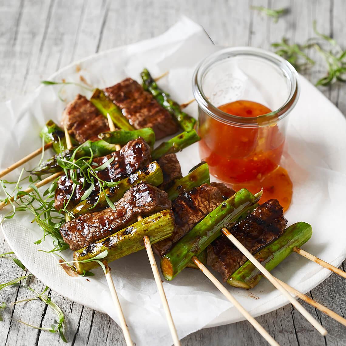 Beef and asparagus skewers