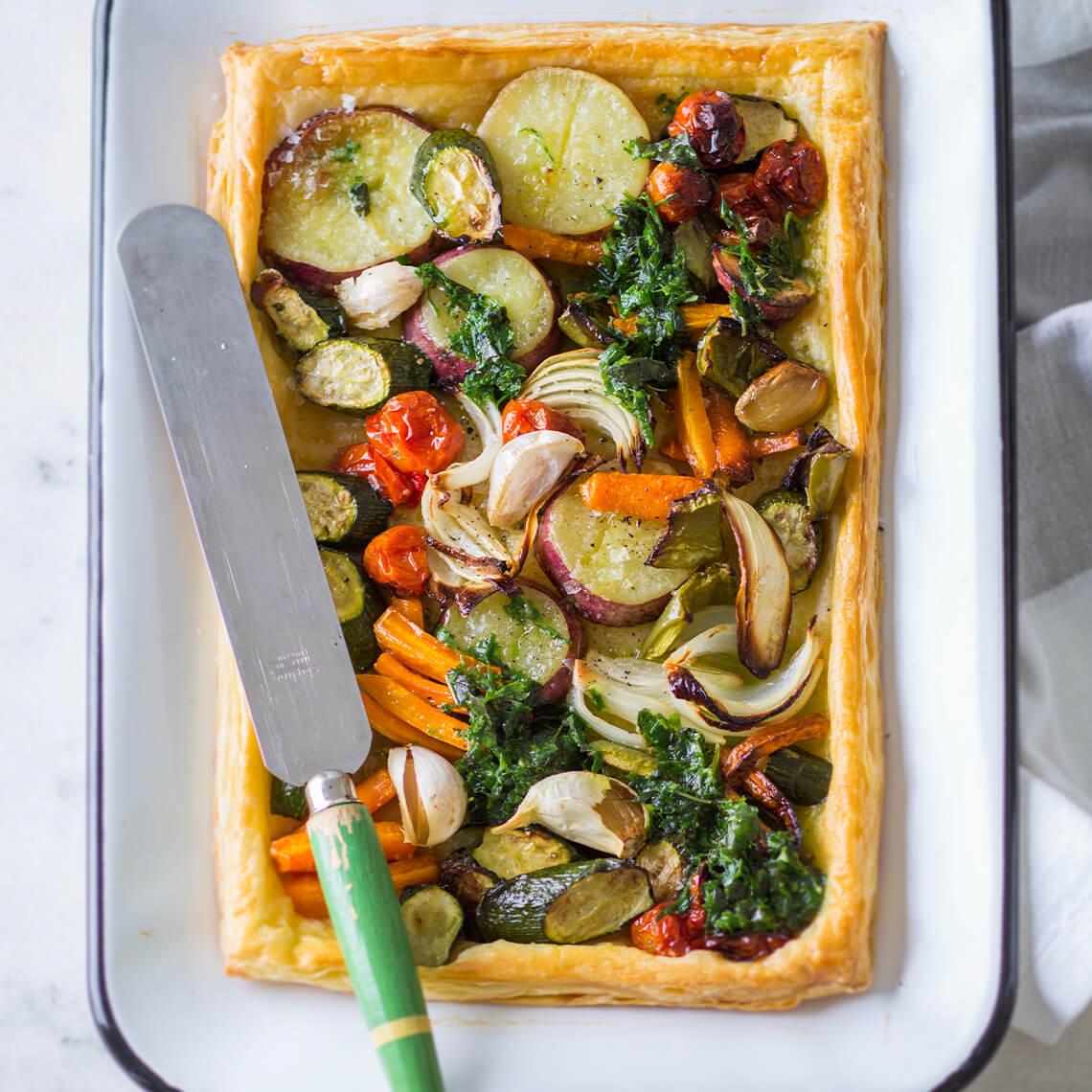 Roast-veg tart with herb oil