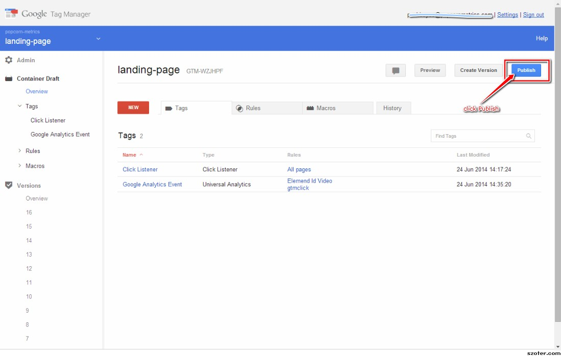 Google Tag Manager - Publish