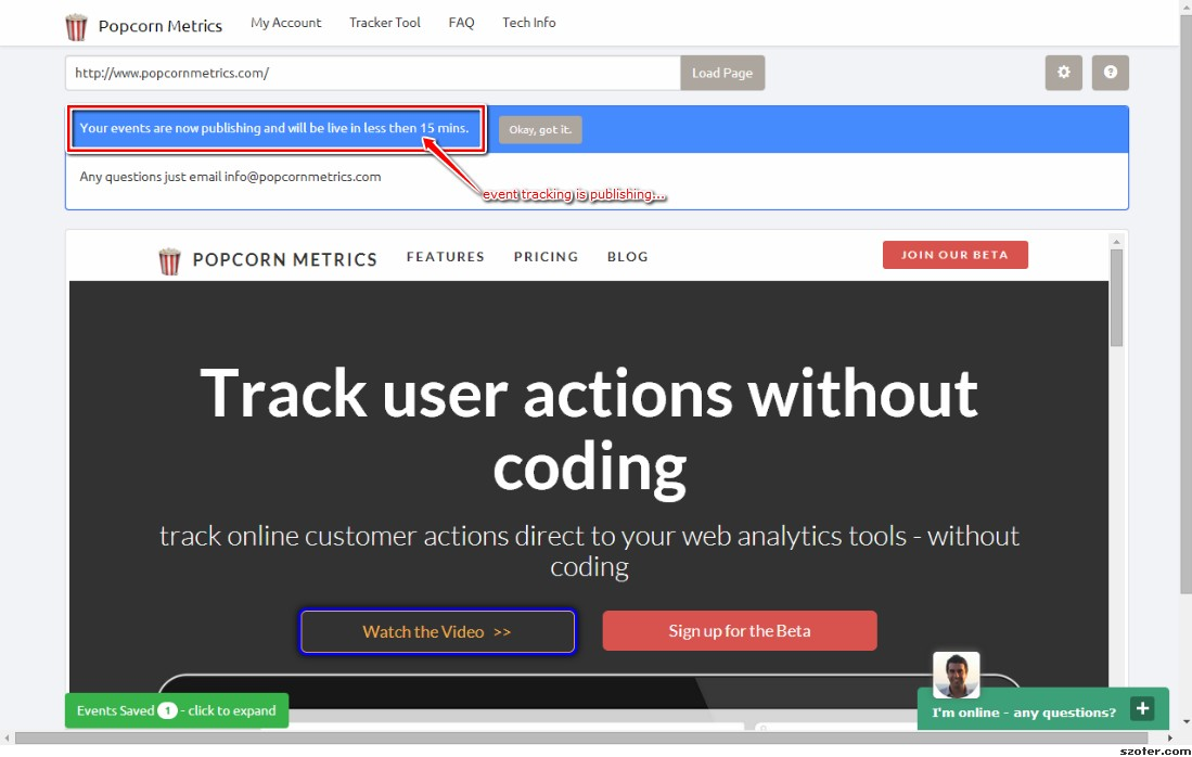 Point and Click Marketing Analtyics Tool - Publish to Track User Events