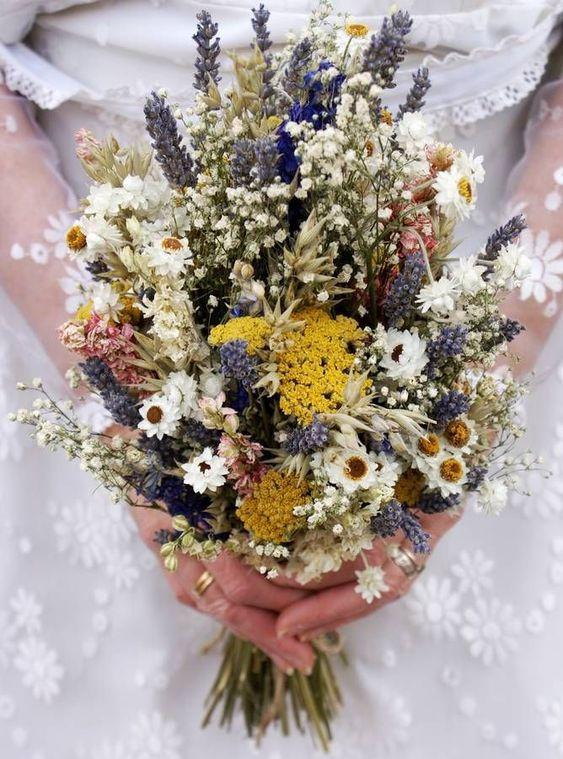 Dried wildflowers bridal bouquet