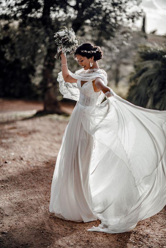 boho wedding dress idea
