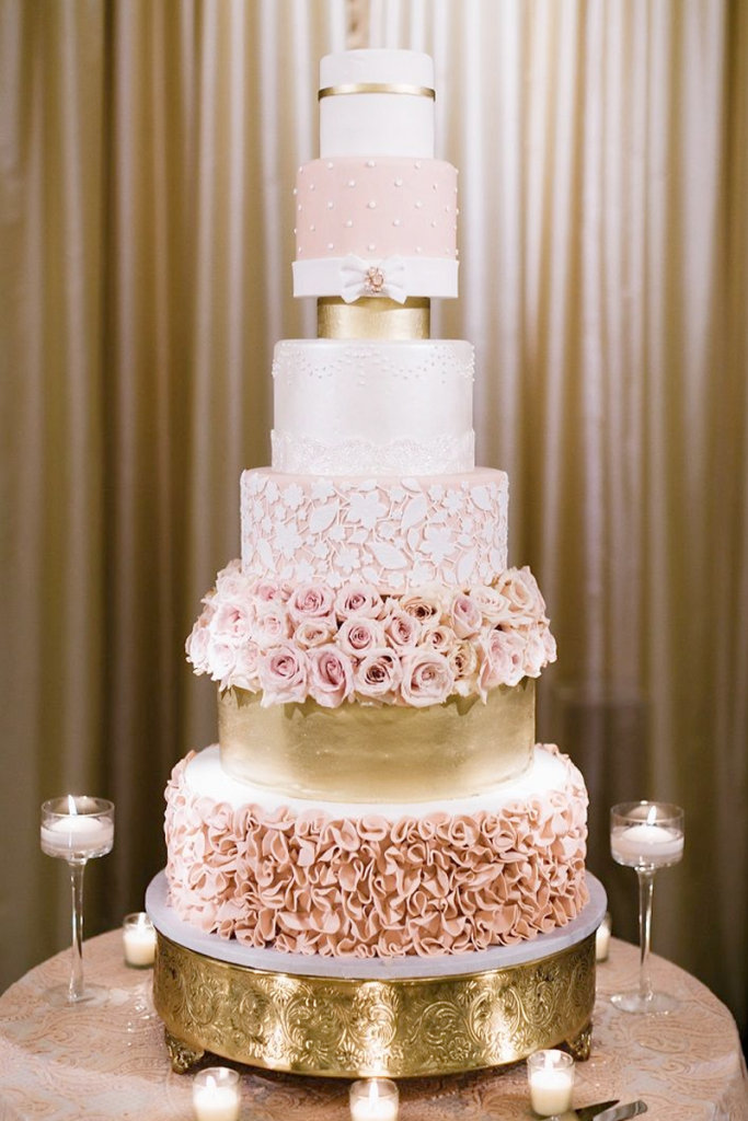 Pink and Goald Wedding Cake with flowers