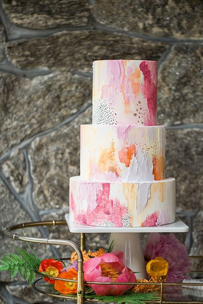 Colorful Textured Buttercream Wedding Cake