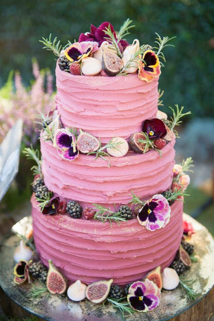 Pink Textured Buttercream Wedding Cake with fruits