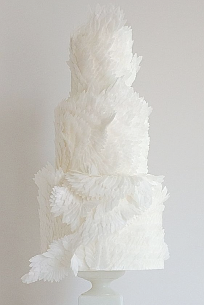 White Wings Textured Wedding Cake