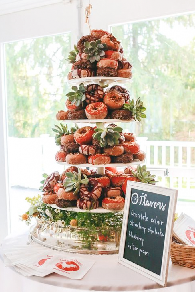 Red Doughnut Wedding Cake
