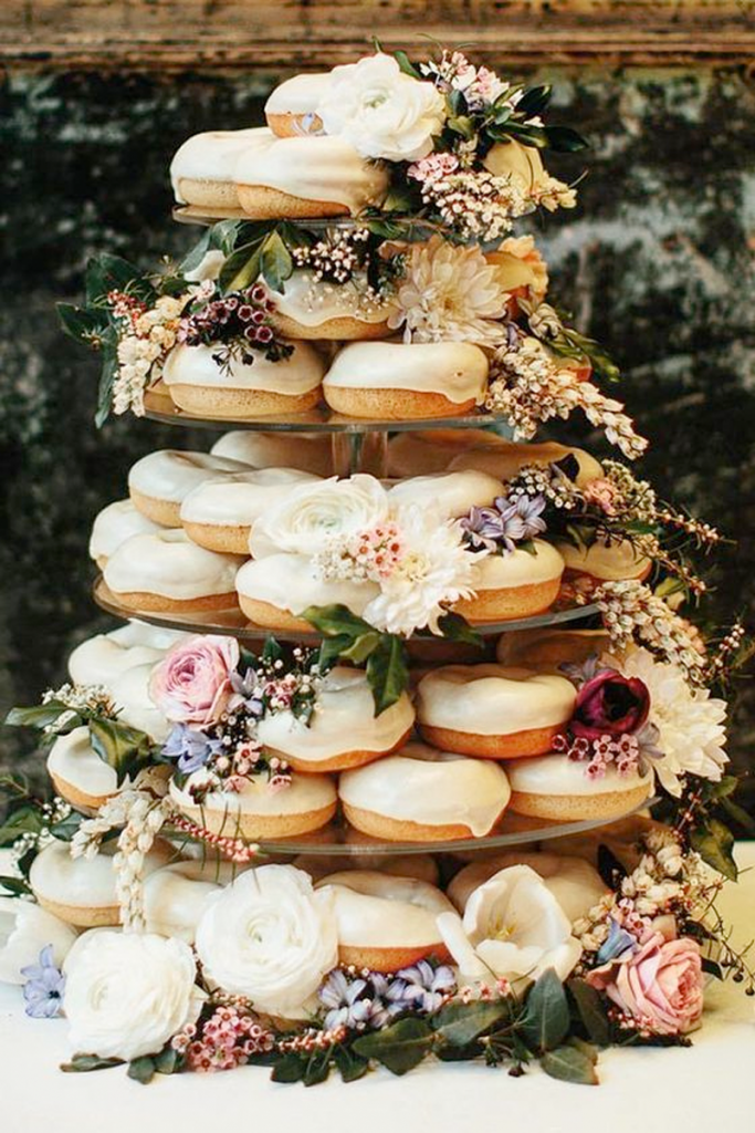 White Doughnut Wedding Cake