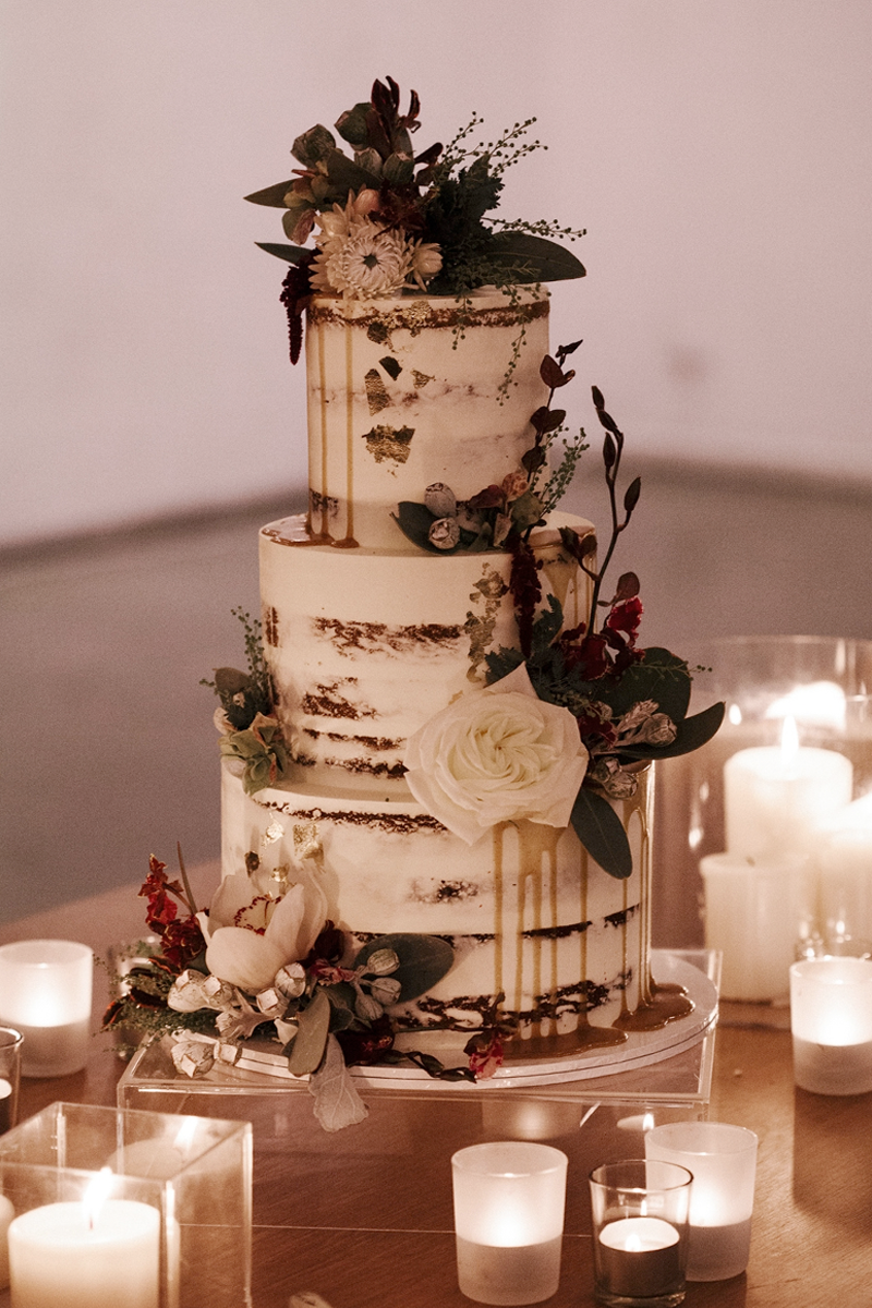 Elevated Naked Cake with flowers