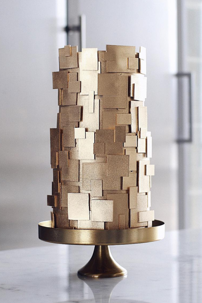 Modern gold Geometric Wedding Cake