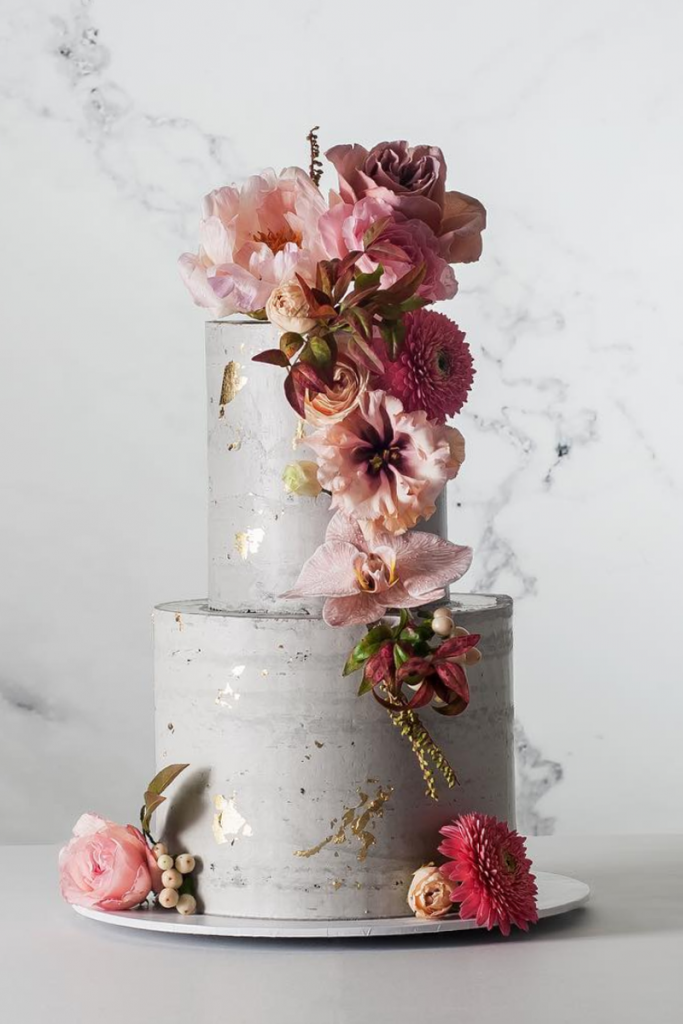 Grey Wedding Cake with Floral Arrangements