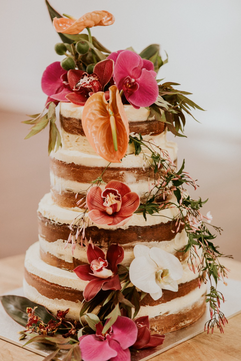 Naked Wedding Cake with Floral Arrangements