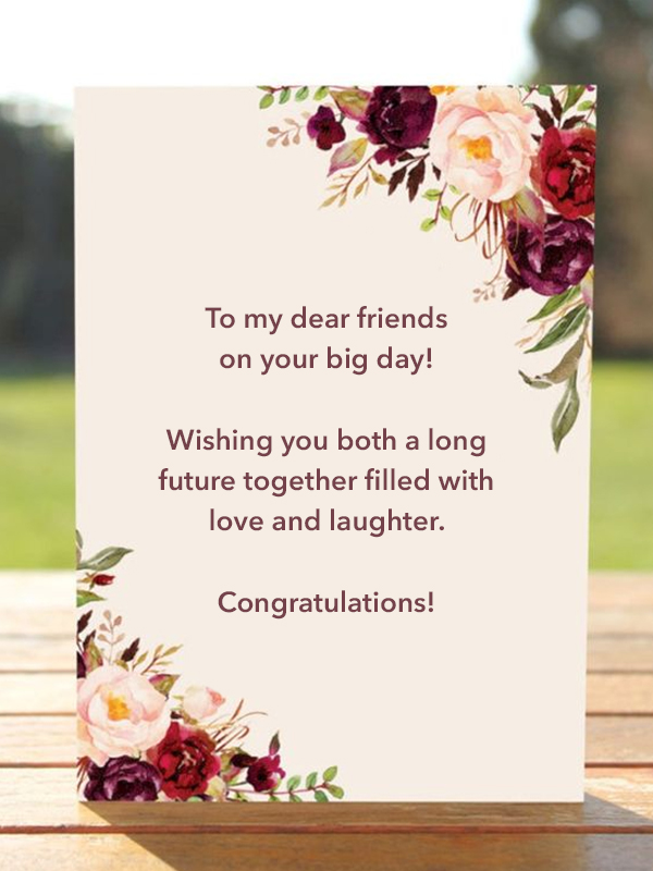 What to write in a wedding card for a friend: