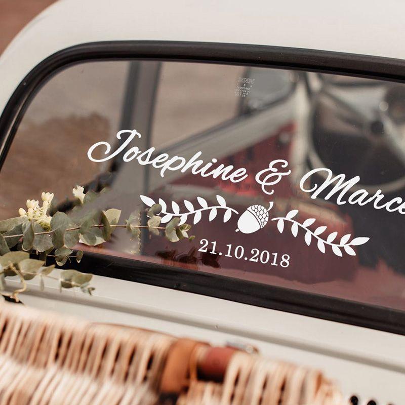 personalized wedding car decoration idea