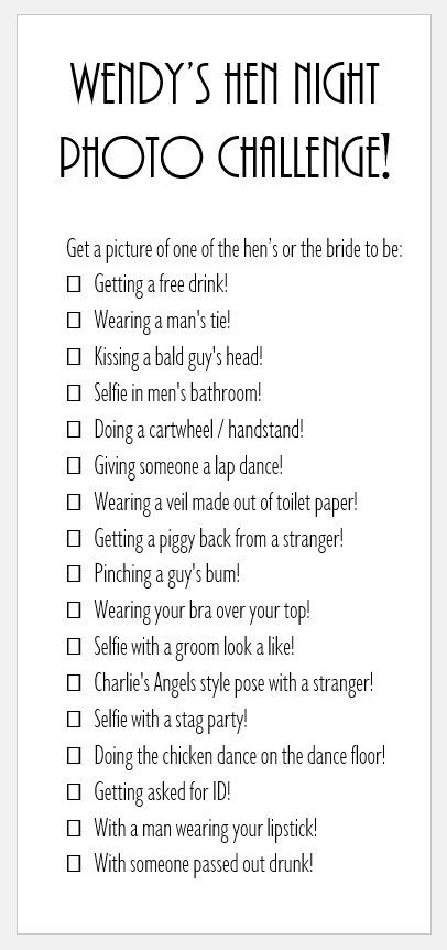 photo challenge hen party games