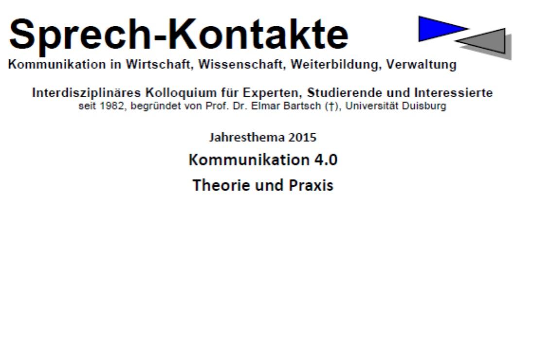Sprechkontakte: Verständigung über Fachsprachen. Panel organisiert und moderiert von Frank Enders