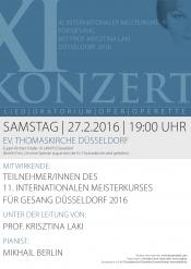 Gala-Konzert des 11. internationalen Meisterkurses für Gesang mit Prof. Krisztina Laki in Düsseldorf