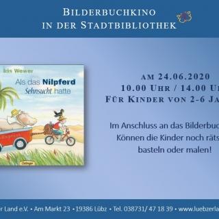 """ABGESAGT! Bilderbuchkino in der Stadt- und Kinderbibliothek Lübz """"Als das Nilpferd Sehnsucht hatte"""""""