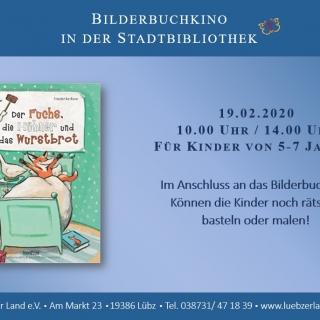 """Bilderbuchkino in der Stadt- und Kinderbibliothek Lübz """"Der Fuchs, die Hühner und das Wurstbrot"""""""