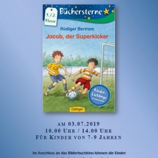 """Bilderbuchkino in der Stadt- und Kinderbibliothek Lübz """"Jacob, der Superkicker"""""""