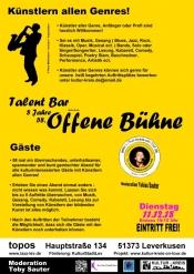 58. Offene Bühne - Talent Bar- Kult Club Topos - Kultur Kreis Leverkusen